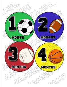 Sports Monthly Onesie Stickers football by delightfulprints, $9.00