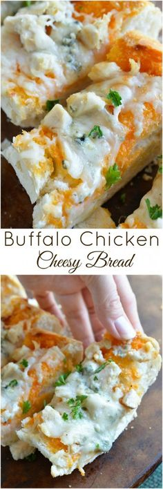 Buffalo Chicken Cheesy Bread is an easy and flavorful game day appetizer! Buffalo wing sauce, chicken and blue cheese come together in this hot, melty cheesy bread recipe.