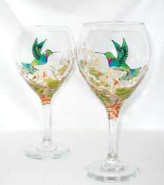 Made To Order Hummingbird Wine Art on glass goblets are a customized hand painted glassware design offering a personal touch to your table top decor.Each hand p