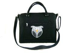 Owl handbag Felt purse Bag for women Black bag Felt bag Designer handbag Felt shoulder bag Modern Large bag