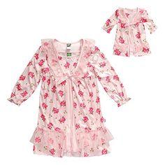 Dollie & Me Big Girls' Rose Pretty Sleep Nightgown Set, P...