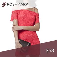 "TOPSHOP Off the shoulder lace dress Channel ethereal vintage romance in an off the shoulder lace shift dress, fully lined, back zip closure, length:32"", viscose/ cotton blend...UK 6, US 0-2 Topshop Dresses Mini"