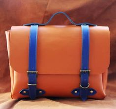 Handmade Genuine Leather Satchel / Briefcase / Handbag / Messenger Bag - Orange with Blue