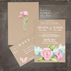 Kraft Style Wedding Invitation Set Peony Floral by BohemeMarket, $50.00