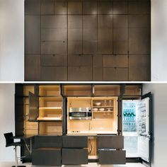 Before and after shots of the stealth kitchen reveal a lot of space beyond appliances and other basics. (Resource Furniture)