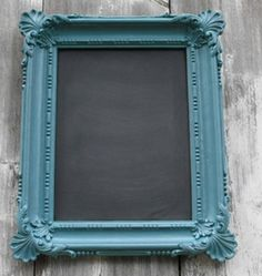 Making a vintage chalkboard out of a picture frame . Genius!