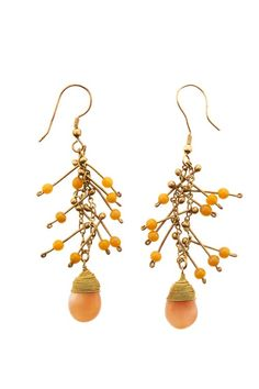 Hand made peach waterfall earrings in brass. Glass bead and natural stone detail. Length 5cm.