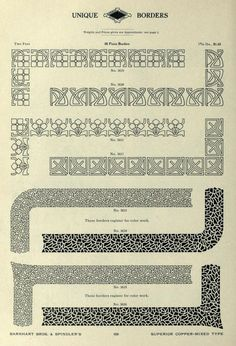 """Border designs from the Barnhart catalog, """"Book of type specimens. Comprising a large variety of superior copper-mixed types, rules, borders, galleys, printing presses, electric-welded chases, paper and card cutters, wood goods, book binding machinery etc., together with valuable information to the craft. Specimen book no.9 ([1907])."""""""