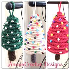 Xmas Tree Ornaments Free Tutorial By AnnooCrochet Designs