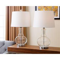 Abbyson Living Ellis Clear Glass Table Lamp (Set of (Clear) Table Lamps For Bedroom, Table Lamp Sets, Bedroom Lighting, Clear Glass Table Lamp, Traditional Bathtubs, Lamp Shade Store, Vintage Room, Diy Desk, Boutique