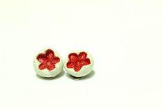 Ceramic red floral clip earrings handmade modern by CatsAndSheeps