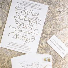 Gold Calligraphy Invitations
