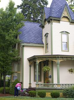 Stick-Style Victorian        Stick-style Victorian homes, such as this one, are characterized by their tall, narrow structure, linearity, and emphasis on wood as a building material.