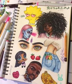 Gsce art sketchbook photography 54 ideas for 2019 Arte Dope, Dope Art, Arte Sketchbook, Sketchbook Pages, Cartoon Kunst, Cartoon Art, Black Girl Art, Black Art, Dope Kunst