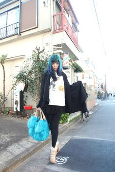 Blue hair, Harajuku street style snaps - Japanese modeling for fashion magazine photographer in Tokyo. More: http://www.lacarmina.com/blog/2014/02/ronan-farrow-daily-tv-show-japanese-photographer/  harajuku fashion fruits book