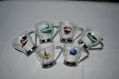 """6 tasses à café expresso verre, anse inox peintes """"Bateaux multicolores"""", SUR COMMANDE peinture sur verre Opale Isis, sur Etsy de la boutique OpaleIsis sur Etsy"""