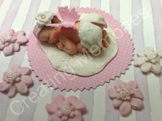 Sweet Angel Baby Girl Cake Topper made of vanilla fondant ready for your cake, baby shower or birthdfay parties, great celebration piece