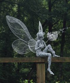 Magical Fairy Sculptures by Robin Wight - Pondly- Fantasy Wire Fairies Sculptures – Dandelion {part of the Fairies at Trentham Gardens trail} - Robin Wight, Sculptures Sur Fil, Sculpture Art, Wire Sculptures, Garden Sculptures, Abstract Sculpture, Bronze Sculpture, Yard Art, Fantasy Wire