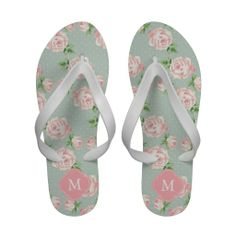 Pink and Mint Vintage Roses Pattern Monogrammed Flip Flops