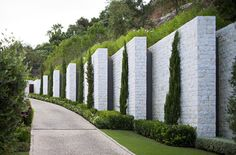 Fence Wall Design, Stone Wall Design, Fence Design, Landscape Walls, Landscape Architecture, Landscape Design, Concrete Fence Wall, Boundry Wall, Compound Wall Design