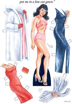 Free Bettie Page Paper Doll With 4 Bettie Dolls and 4 Pages of Clothing