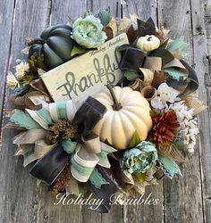Thankful Fall Wreath by Holiday Baubles
