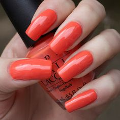 OPI: Hot and Spicy (is an orangey red with a slight terracotta undertone)