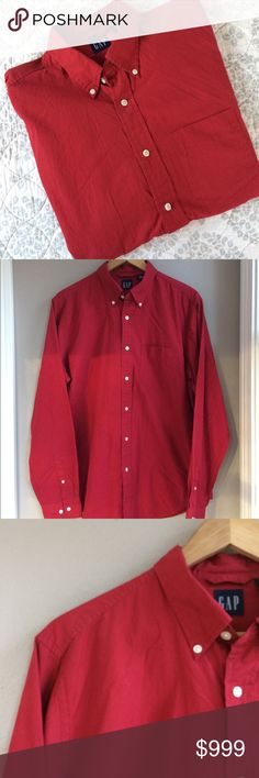 M Men's GAP Button Down M Men's GAP Button Down. Burgundy red. Single breast pocket, adjustable buttons at sleeve cuff. Perfect color for you or your guy this holiday season. Excellent preowned condition. Bundle for additional discounts and seller offers. Packaged with care, fast shipping. GAP Shirts