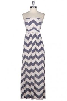Oh My! Navy Chevron Maxi Dress-Grey - Dresses