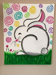adorable colourful easter bunny painting easy for young kids with swirls in the background