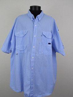 Columbia PFG Fishing Shirt Mens Size 4X BIG Gingham Vented Back Light Blue White #Clothing #Shopping #Style http://r.ebay.com/AuyE13 via @eBay