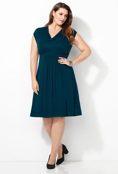 Solid Cowlneck Dress-Plus Size Dress-Avenue