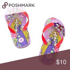 Disney girls Rapunzel flip flops Brand new Authentic. Your little princess will sparkle every step of the way in these cushioned Mermaid, Minnie Mouse or Rapunzel flip flops. Adds a splash of color to the insoles that will brighten up any day.Screen Art. Gel strap with glitter. Textured non-slip sole Disney Shoes Sandals & Flip Flops