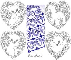 Embroidery Quilt 7349 Heart Winning Animals Baby crib pattern PDF vintage newspaper mail away