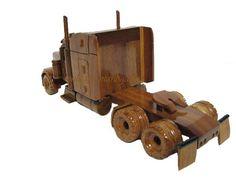 Peterbilt Semi Tractor Trailer Truck Wood Mahogany Wooden