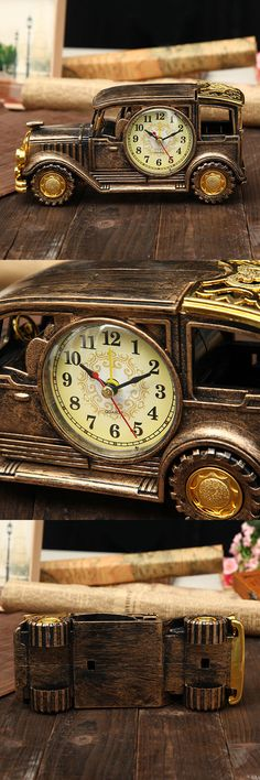 Save $7.99 Creative Simulation Vintage Car Alarm Clock Multifunctional Pencil Antique Car Decor