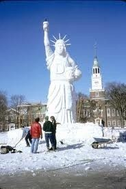 Snow Statue of Liberty