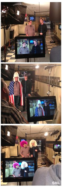 Backstage at Saturday Night Live with Bobby Moynihan and this week's host, Edward Norton.