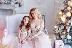 Pink blush Mother daughter matching train lace dress for