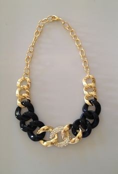 Gold and Black with Rhinestones Statement Necklace