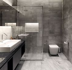 Bathroom Interior Design Grey Marble Glass Modern