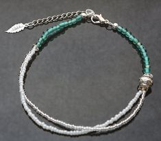 $20  Turquoise Glass Beaded Anklet by marinebluetreasures on Etsy, CHF20.00