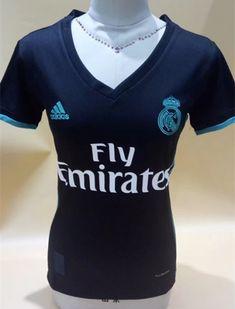 34da6cad5a 2017-18 Real Madrid Away Black Thailand Female Soccer Jersey AAA Camisa  Preta, Camisa
