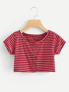 Shop Horizontal Striped Tee at ROMWE, discover more fashion styles online. Girls Fashion Clothes, Teen Fashion Outfits, Outfits For Teens, Girl Fashion, Girl Outfits, Cute Crop Tops, Crop Top Shirts, Crop Shirt, Vetement Fashion