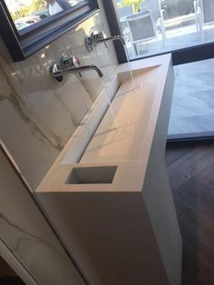 Bathroom l Corian by Dupont l Construction by Petsis Corian Dupont, Cuba, Sink, Construction, Bathroom, Home Decor, Sink Tops, Building, Washroom