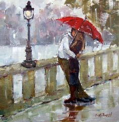 """On this languid rainy day let us fall upon each other. Like raindrop upon raindrop, sweetly dissolving into the other. Oil. """"A Kiss of Rain"""". Brown, Gina. Gina Brown Art. blogspot. 13 Nov 2013."""