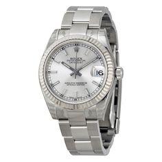 Lady Datejust 31 Silver Index Dial Oyster Bracelet 18k White Gold Fluted Bezel…