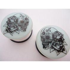 Skull & Roses Glow In Dark Plugs (2 gauge - 1 inch) ($9.99) ❤ liked on Polyvore
