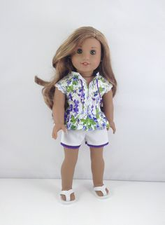 "18T Sweet & Sassy - Top, Shorts and Flip Flops for 18"" Dolls like American Girl (R) Dolls like Lea, Tenney, Grace, Kit, Saige and McKenna by MjsDollBoutique18T on Etsy"