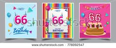 Vector Sets of 66 Years Birthday invitation, greeting card Design, with confetti and balloons, birthday cake, Colorful Vector template Elements for your Birthday Celebration Party.